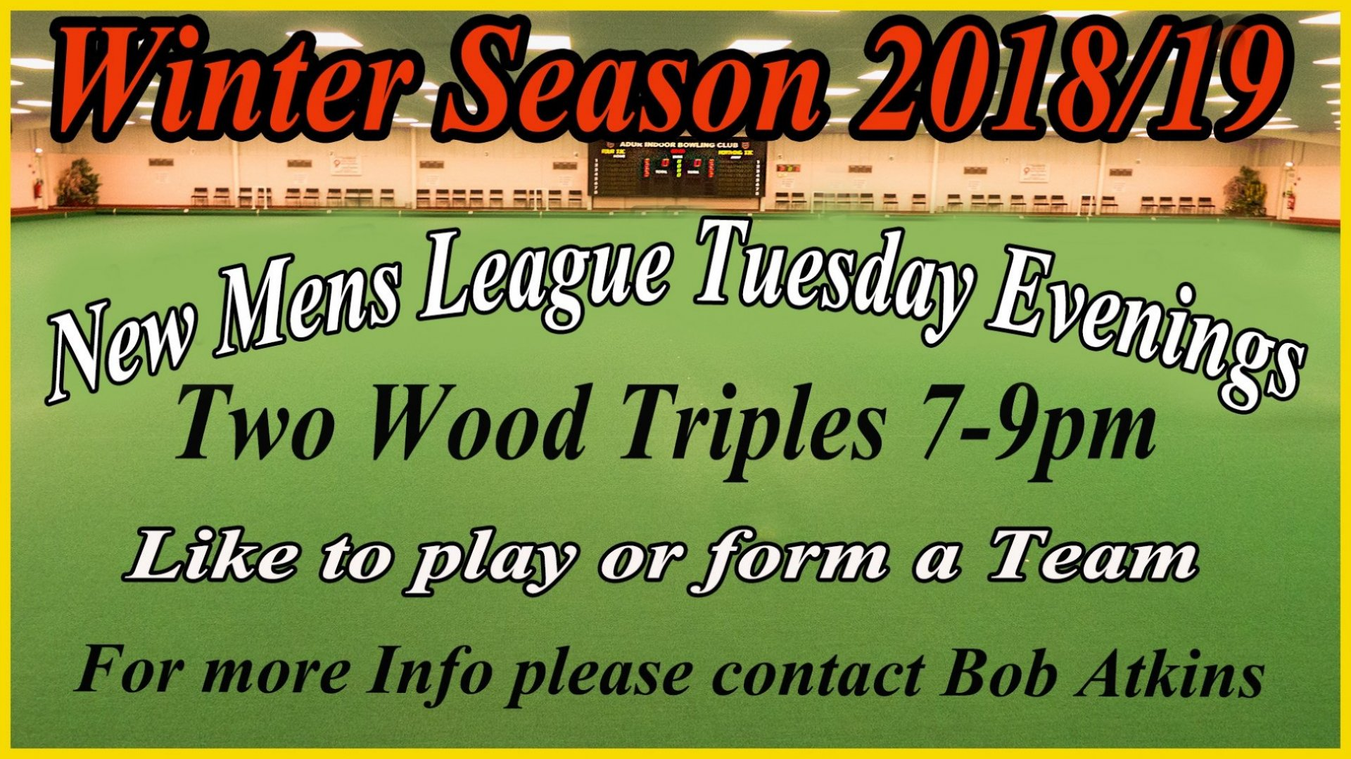 Advert for Goring 2 wood Triples league (1.4.18)