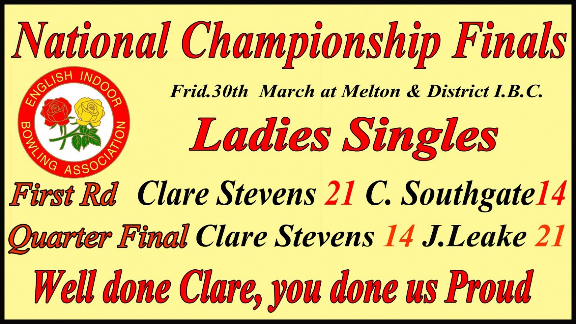 Ladies Singles (Clare Stevens) - National Finals - 1st and Quarter Finals RESULT @ Melton District IBC on 30.3.18 (1.4.18)