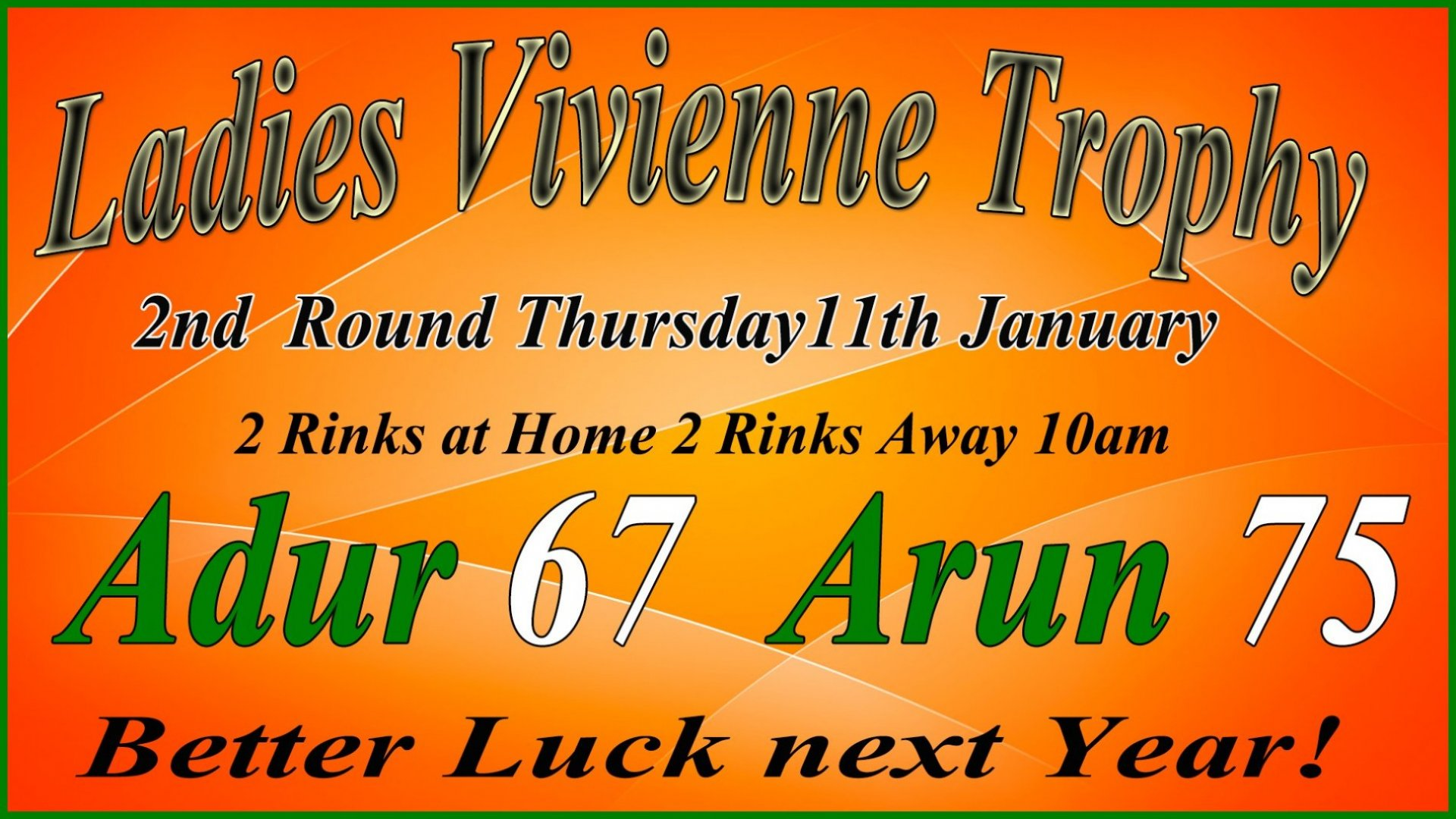 Ladies Vivienne Trophy - 2nd Round Result - Adur v Arun - 11.1.17