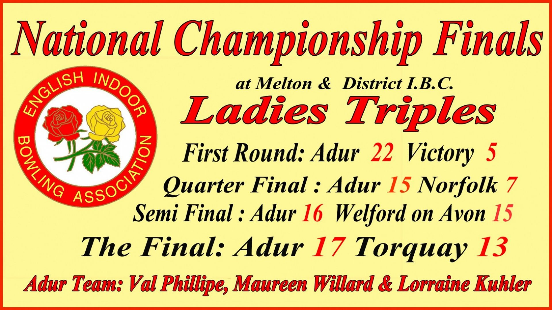 National Championship Finals- Ladies Triples - All stages RESULTS to CHAMPIONS @ Melton & DistricT IBC (1.4.18)