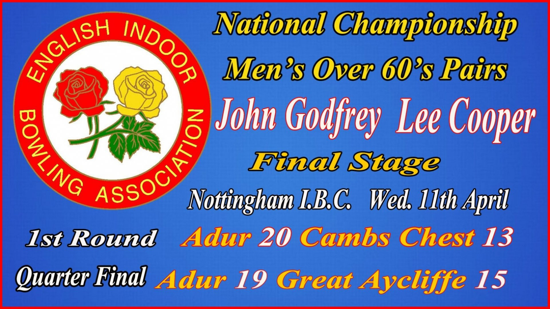 National Championship Men's Inter Club - Over 60's Pairs - 1st & Quater Final Rounds John Godfrey & Lee Cooper v's Cambs Chest