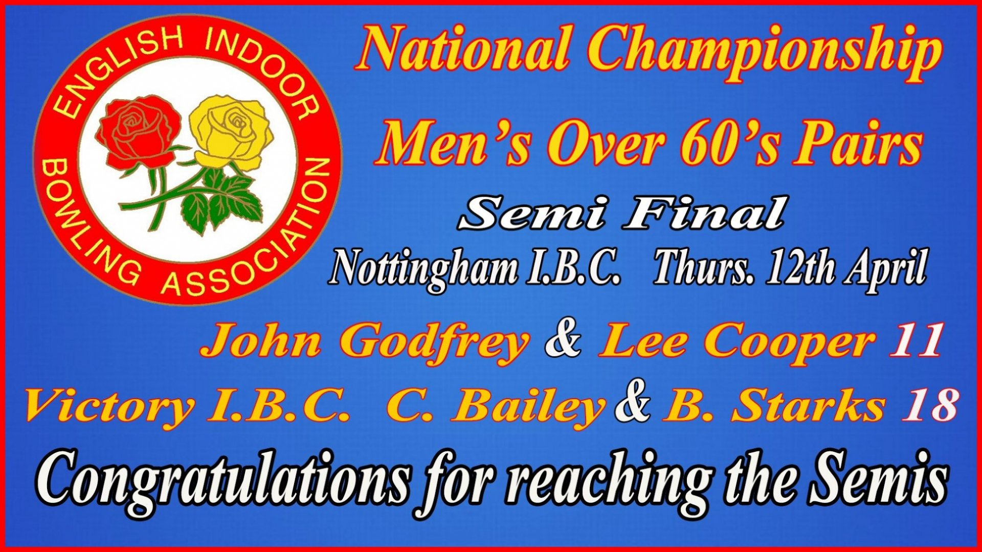 National Championship Men's Inter Club - Over 60's Pairs - Semi Final John Godfrey & Lee Cooper v's Victory IBC- Result (12.4.18
