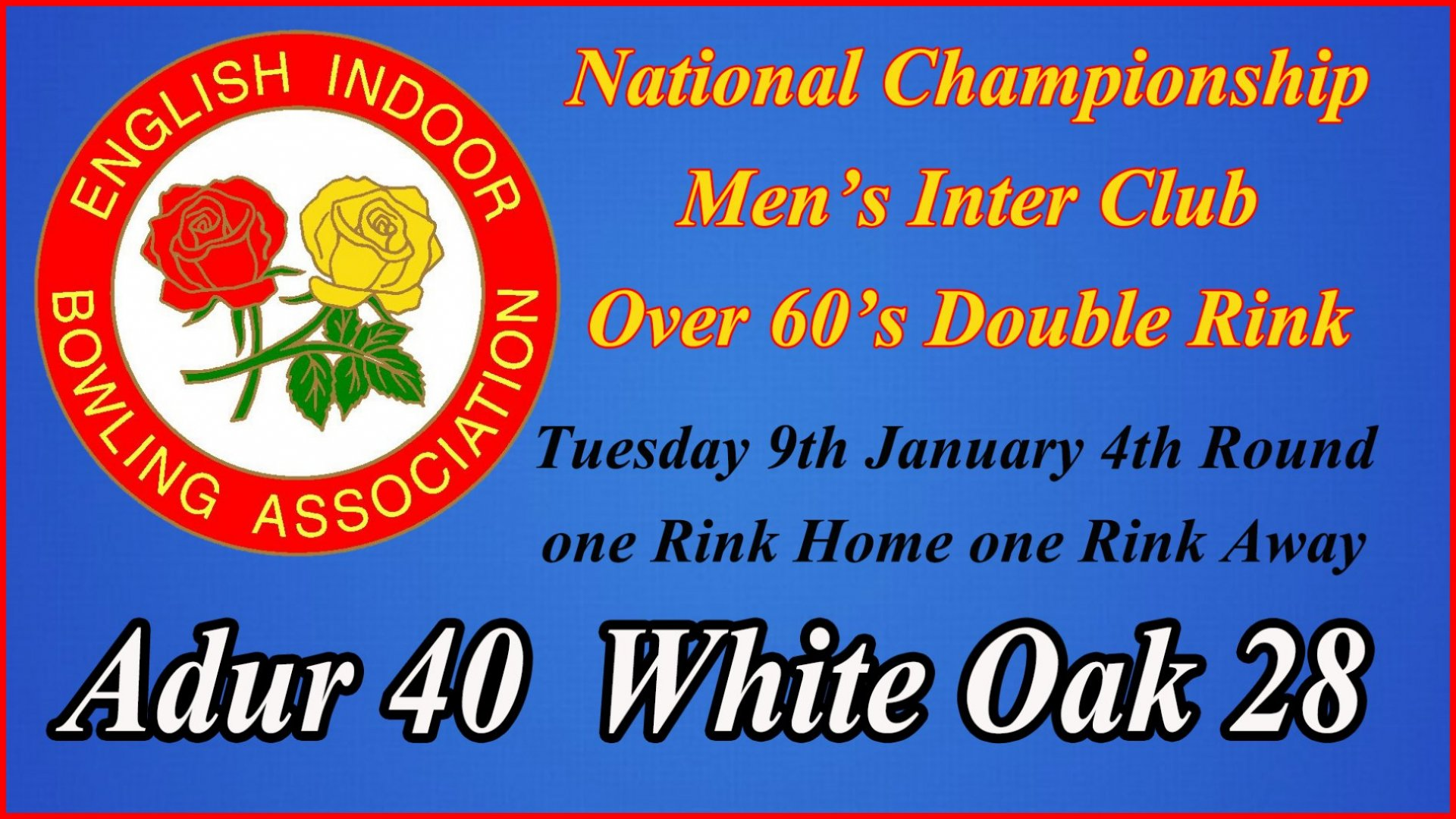 Men's Inter club National Championships Over 60's Double Rink 4th Round - Adur v White Oak A Result (9.1.18)
