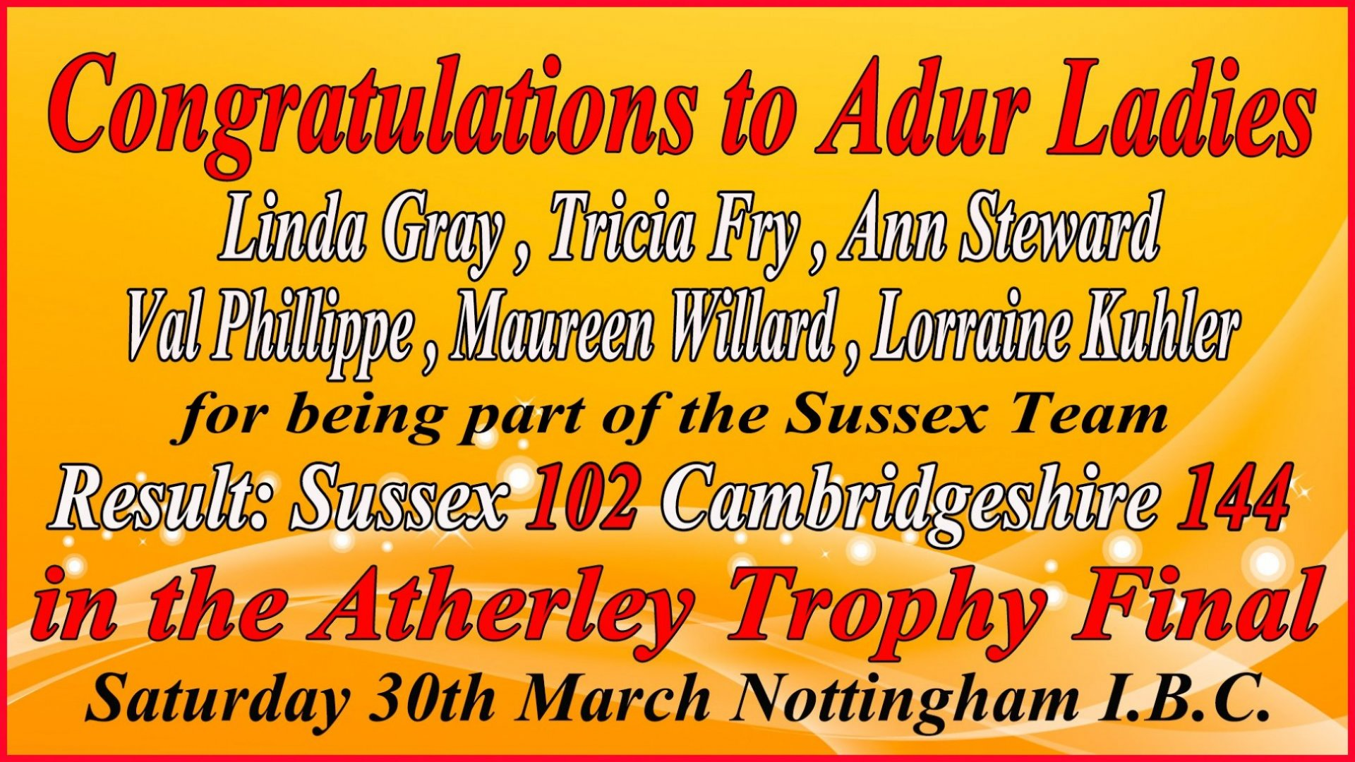Atherley Trophy Final - Sussex v Cambridgeshire - RESULT - Saturday 30.3.19