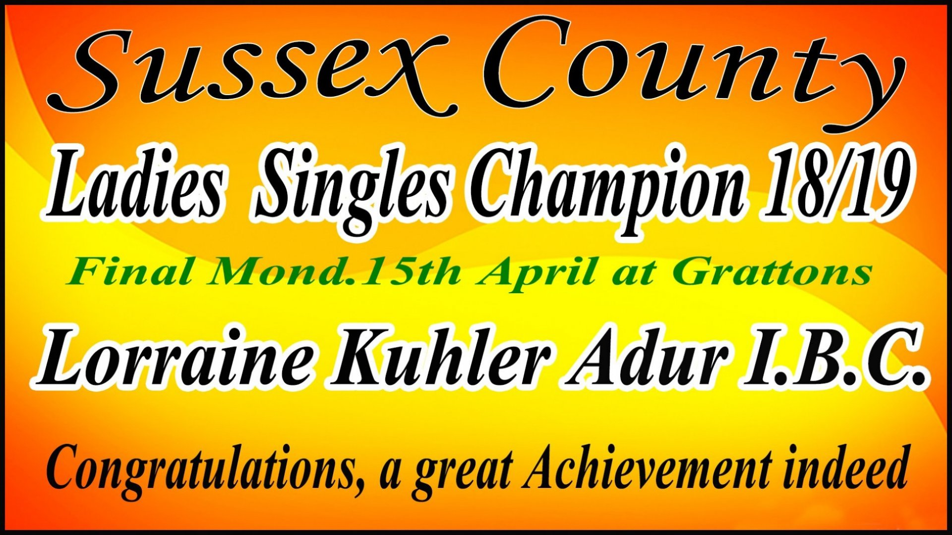 Ladies County Singles