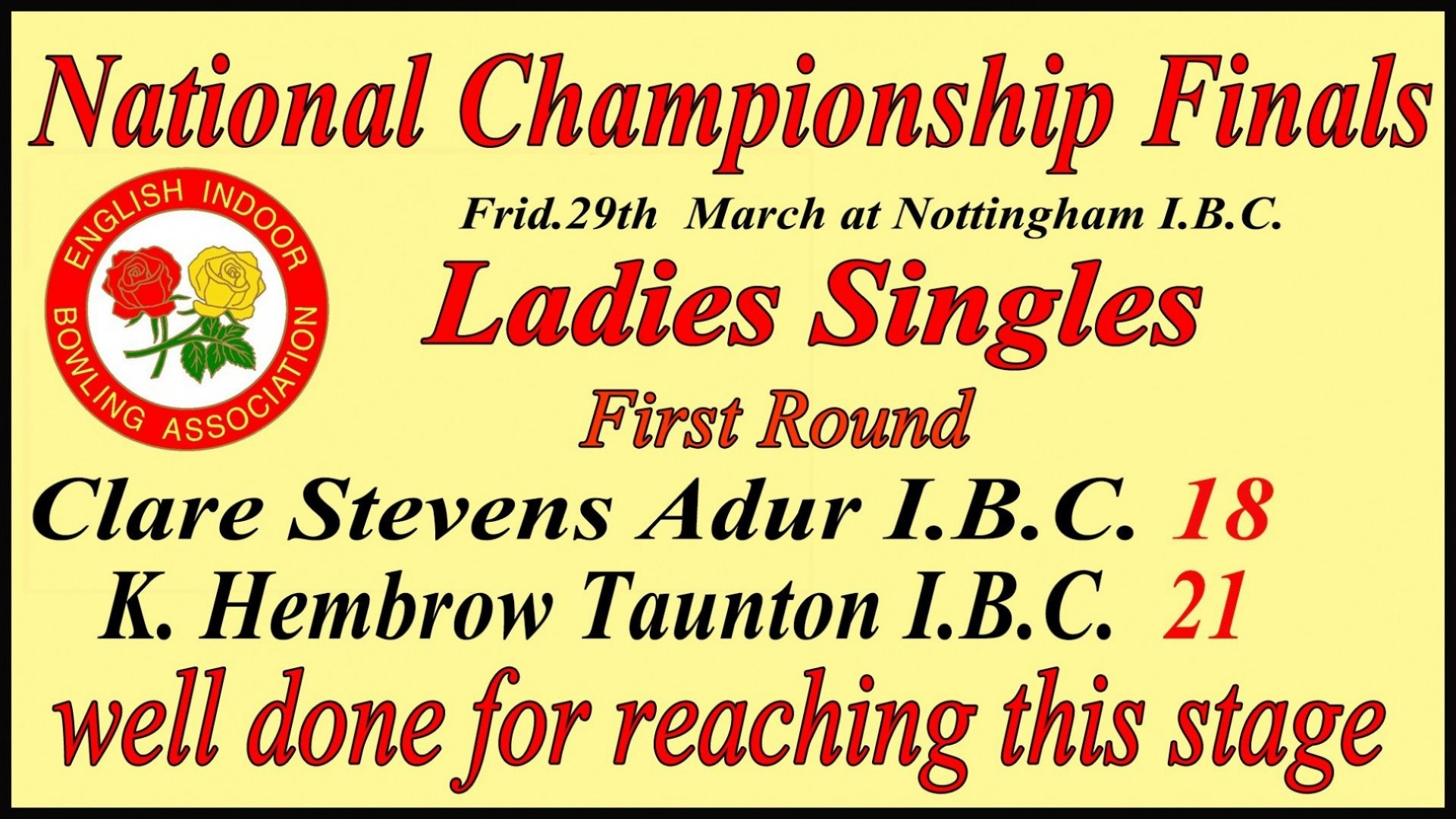 Ladies National Singles Final Result at Nottingham - Friday 29.3.19.