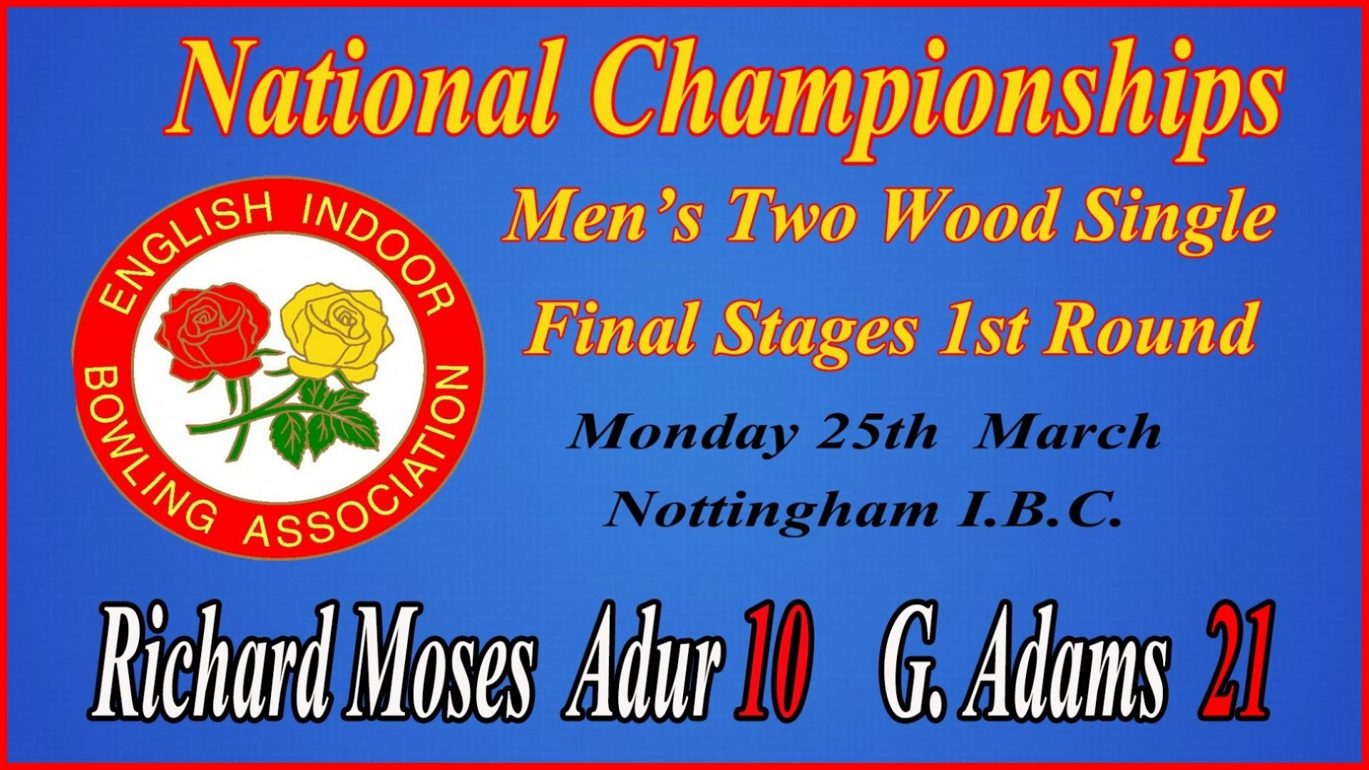 Men's 2 wood singles Championship Final-Result at Nottingham - Monday 25.3.19